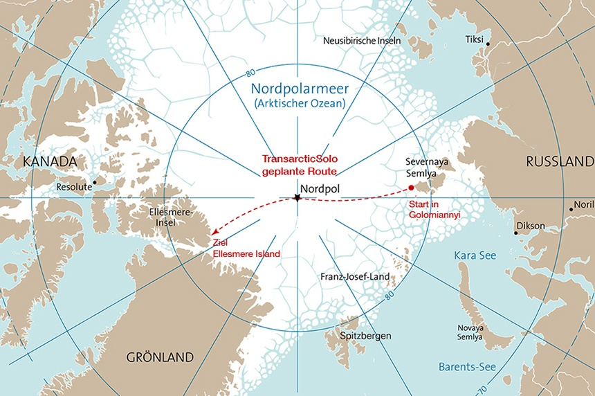 Nordpolarmeer Karte.Transarctic Solo 2016